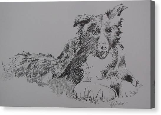 Willow And Frisbee Canvas Print by Ramona Kraemer-Dobson