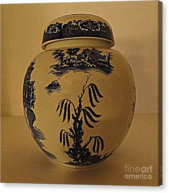 Willow Tea Jar Canvas Print by Patricia Januszkiewicz