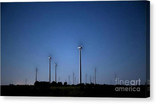 Wind Farm At Night Canvas Print