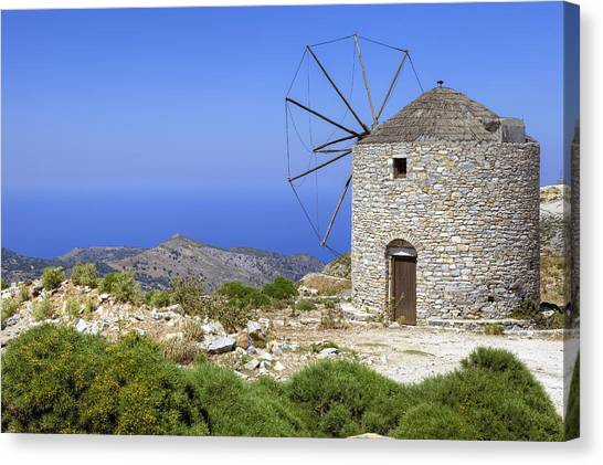Greece Canvas Print - wind mill Naxos by Joana Kruse