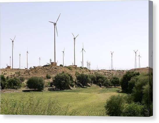 Thar Desert Canvas Print - Wind Turbines, India by Colin Cuthbert