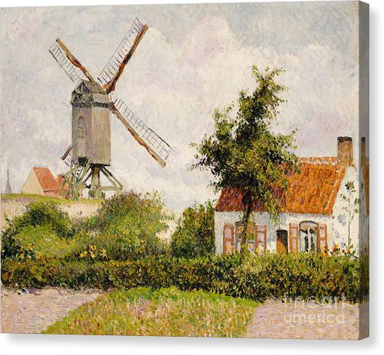 Camille Canvas Print - Windmill At Knokke by Camille Pissarro