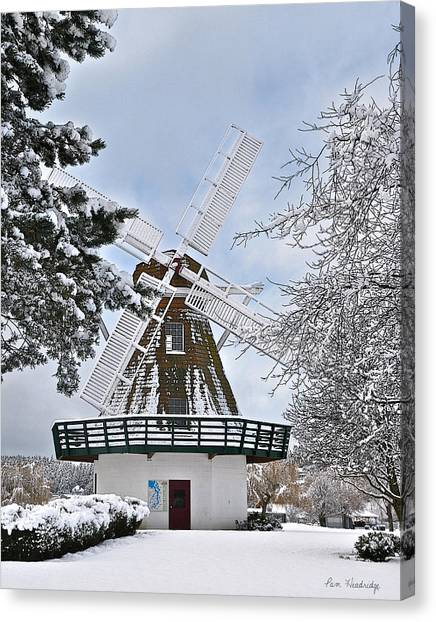 Windmill In The Winter Canvas Print by Pam Headridge