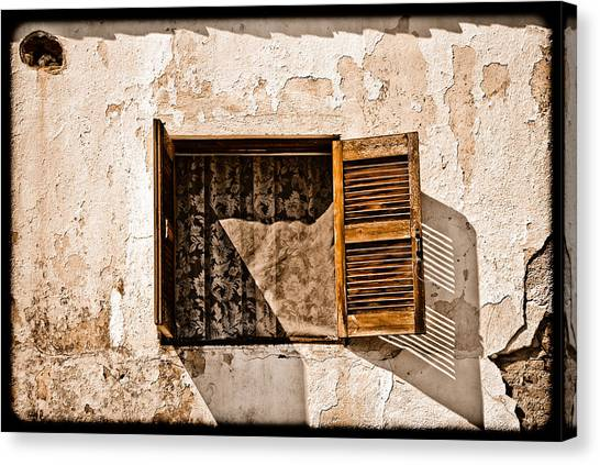 Hanioti, Greece - Window And Lace Canvas Print