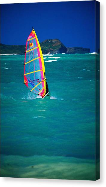 Windsurfer On The Shores Of Kailua Beach, Kailua, United States Of America Canvas Print by Ann Cecil
