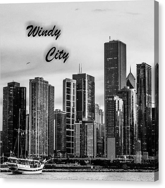 University Of Illinois Canvas Print - Windy City 2  by San Gill