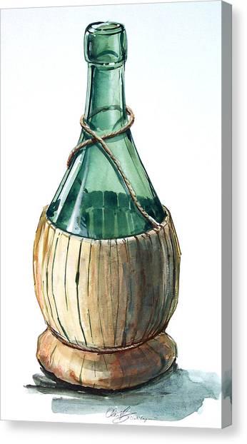 Wine Bottle Canvas Print by Olin  McKay