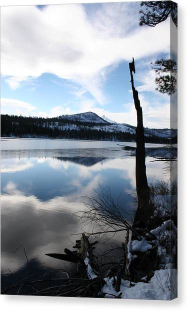 Winter At The Lake Canvas Print by Ken Riddle