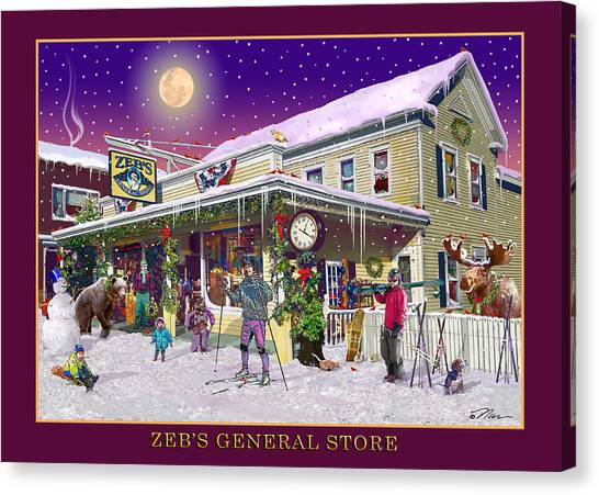Winter At Zebs General Store In North Conway Nh Canvas Print