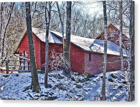 Winter Barn Canvas Print by Nancy Rohrig