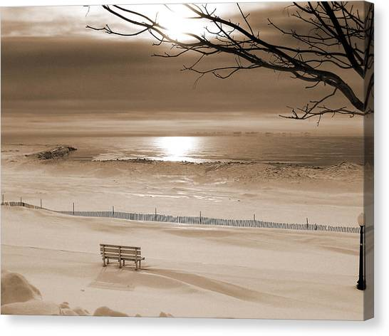 Winter Beach Morning Sepia Canvas Print