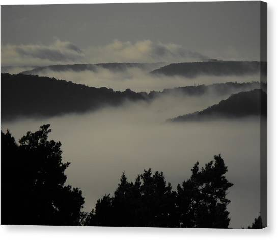 Winter Fog Mountains Canvas Print by Rebecca Cearley