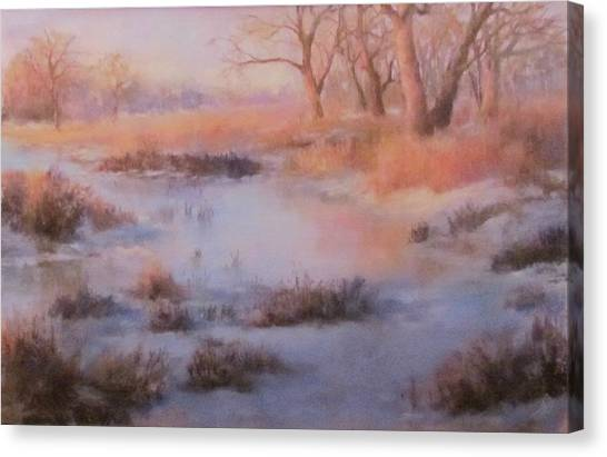 Winter Marsh Series- Fire And Ice Canvas Print
