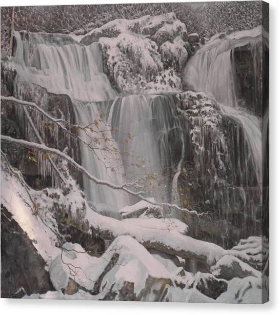 Winter Waterfalls Canvas Print by Giacomo Alessandro Morotti