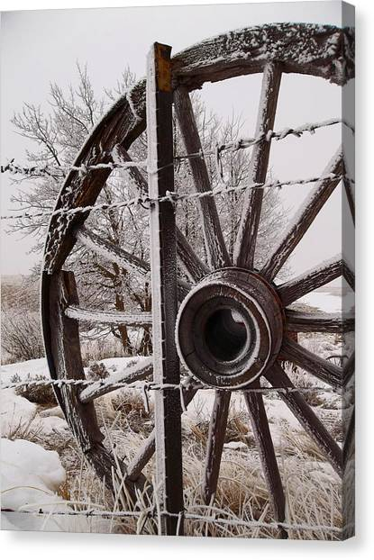 Winter Wheel Canvas Print by Wesley Hahn