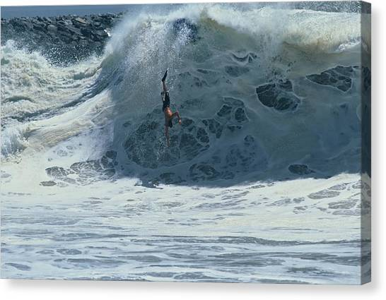 Bodyboard Canvas Print - Wipe Out At Wedge by Ron Romanosky