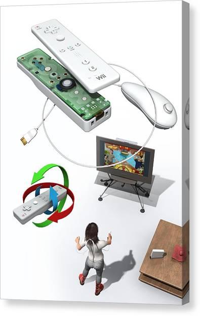 Wii Canvas Print - Wireless Home Video Game System by Jose Antonio PeÑas