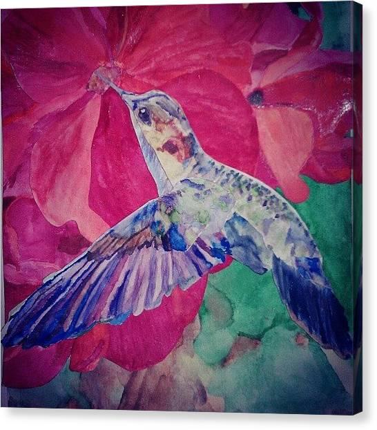 Hummingbirds Canvas Print - Wish I Was Still In Art! #8th #grade by Kelsi Doerrer