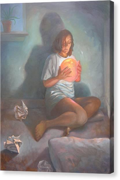 With A Magic Ball Canvas Print