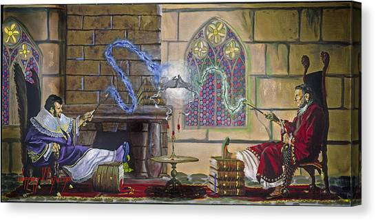 Wizards Duel Canvas Print by Jeff Brimley