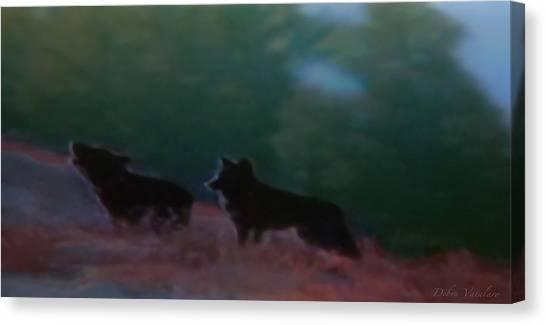 Wolves Passage Canvas Print by Debra     Vatalaro