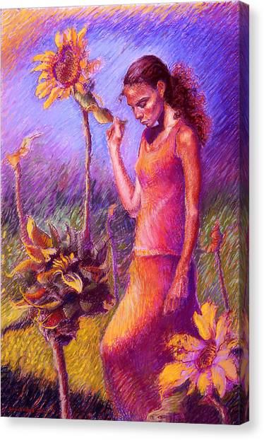 Woman Among The Sunflowers Canvas Print