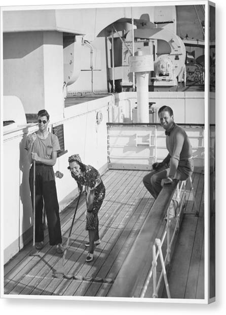 Woman And Two Men On Cruiser Deck, (b&w), Elevated View Canvas Print by George Marks