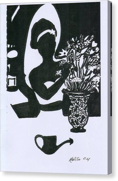 Woman Arranging Flowers 1 Canvas Print by Rhetta Hughes