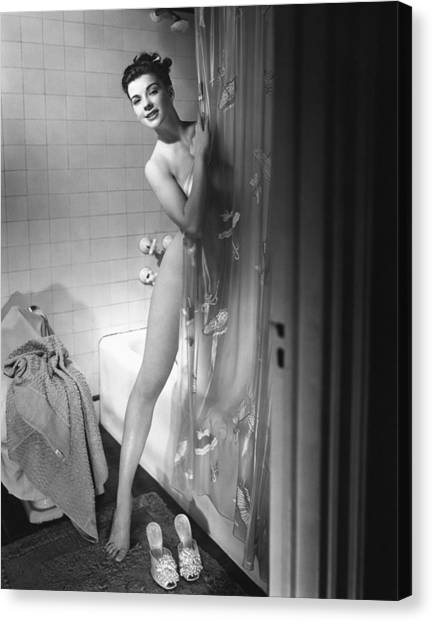 Woman Behind Shower Curtain Canvas Print by George Marks