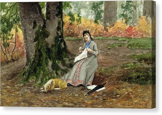 M.a Canvas Print - Woman Embroidering Under A Tree  by John M Tracy