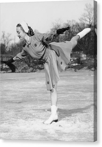 Woman Ice Skating Canvas Print by George Marks