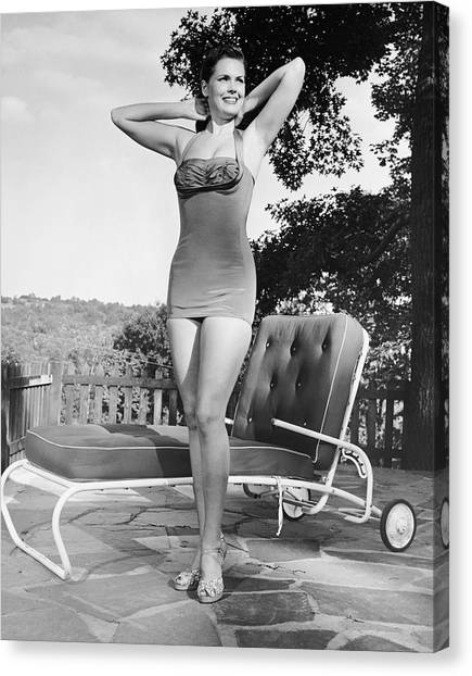 Woman In Bathing Suit Outdoors Canvas Print by George Marks