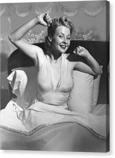 Woman In Bed Canvas Print by George Marks
