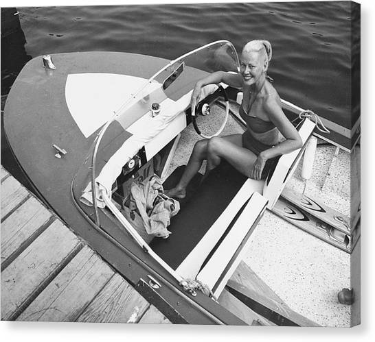 Woman In Speed Boat Canvas Print by George Marks
