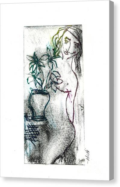 Woman In Waiting Canvas Print by Lillian Michi Adams