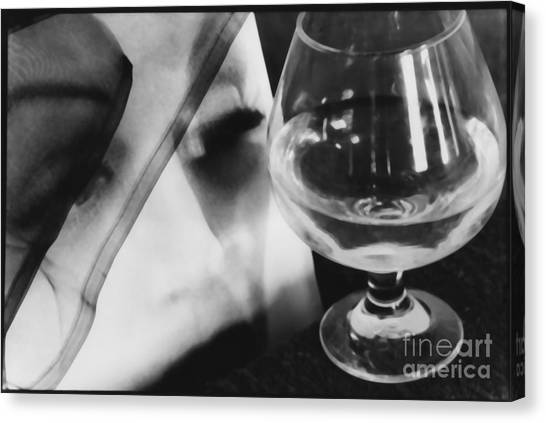 Woman Looking Through Glass Version 1 Canvas Print