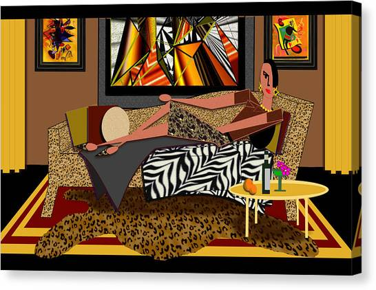 Woman On A Chaise Lounge Canvas Print