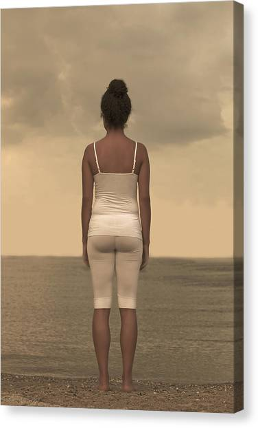 Spaghetti Canvas Print - Woman On The Beach by Joana Kruse
