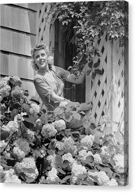 Woman Outside Of Home, Near Hydrangea Bush Canvas Print by George Marks