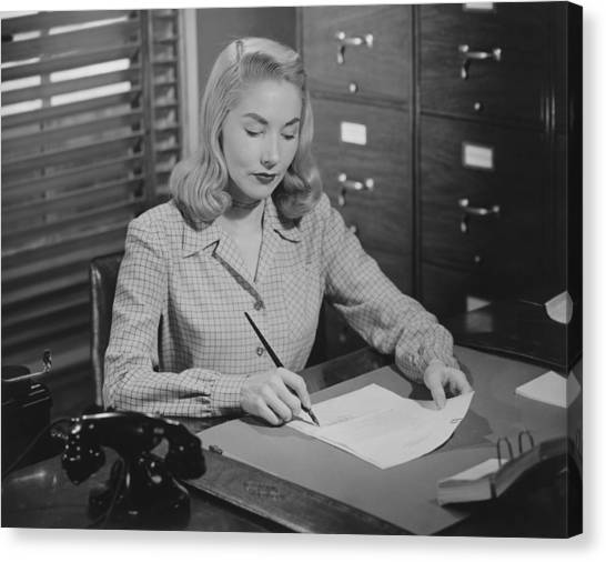 Woman Sitting At Desk, Writing Letter, (b&w) Canvas Print by George Marks