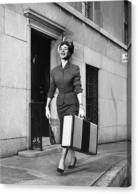 Woman Traveling Canvas Print by George Marks