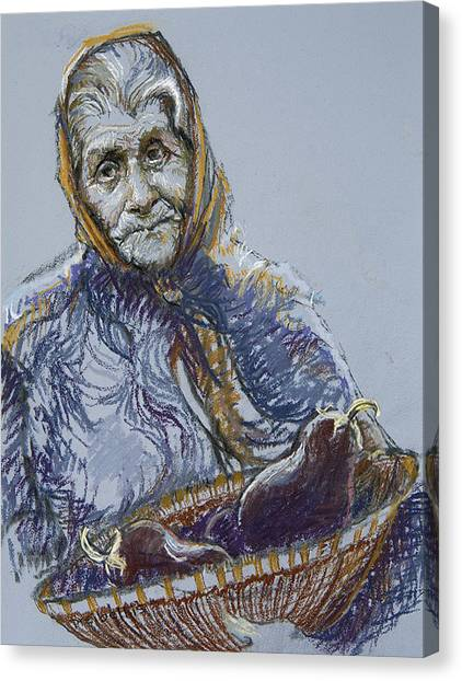 Woman With A Basket Of Eggplant Canvas Print