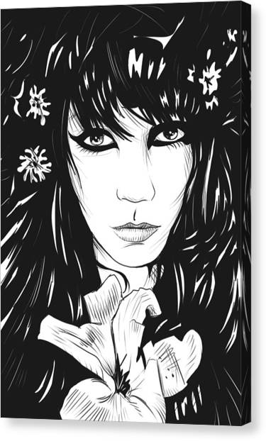 Long Hair Canvas Print - Woman With Flower by Giuseppe Cristiano
