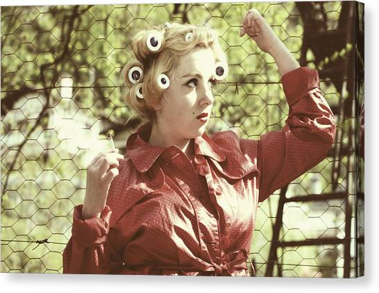 Chain Link Fence Canvas Print - Woman With Rain Coat And Curlers by Joana Kruse