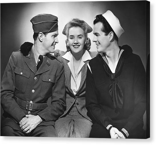 Woman W/two Military Men Canvas Print by George Marks