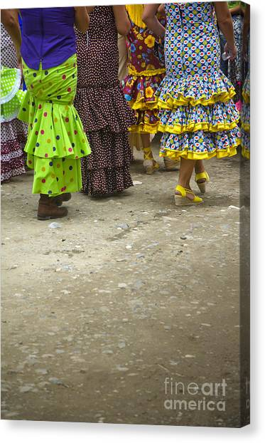 Women And Flamenco Dresses Canvas Print by Perry Van Munster