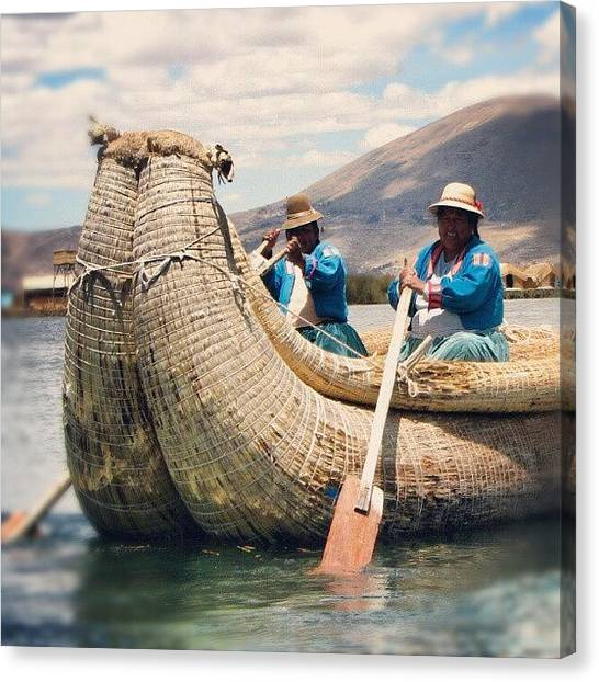 Peruvian Canvas Print - #women Having #fun Near #uros #peru by Yannick Menard