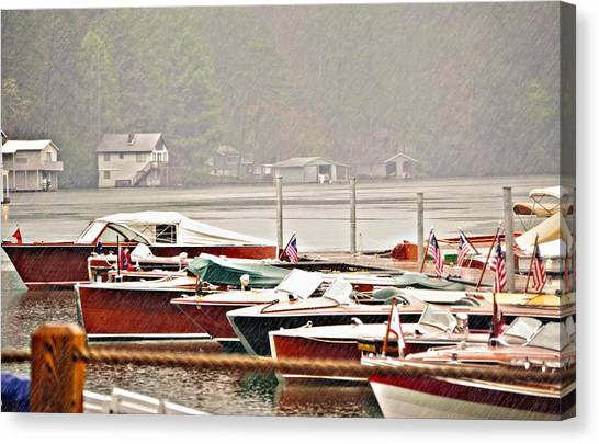 Wood Boats In The Rain Canvas Print