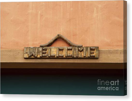 Wood Welcome Sign Canvas Print by Blink Images