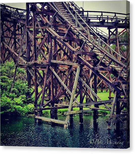 Iphone 4 Canvas Print - Wooded #rollercoaster At #cedarpoint In by Pete Michaud